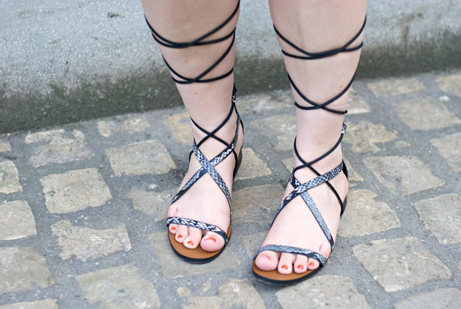 mango gladiator strap up sandals laces snakeskin black