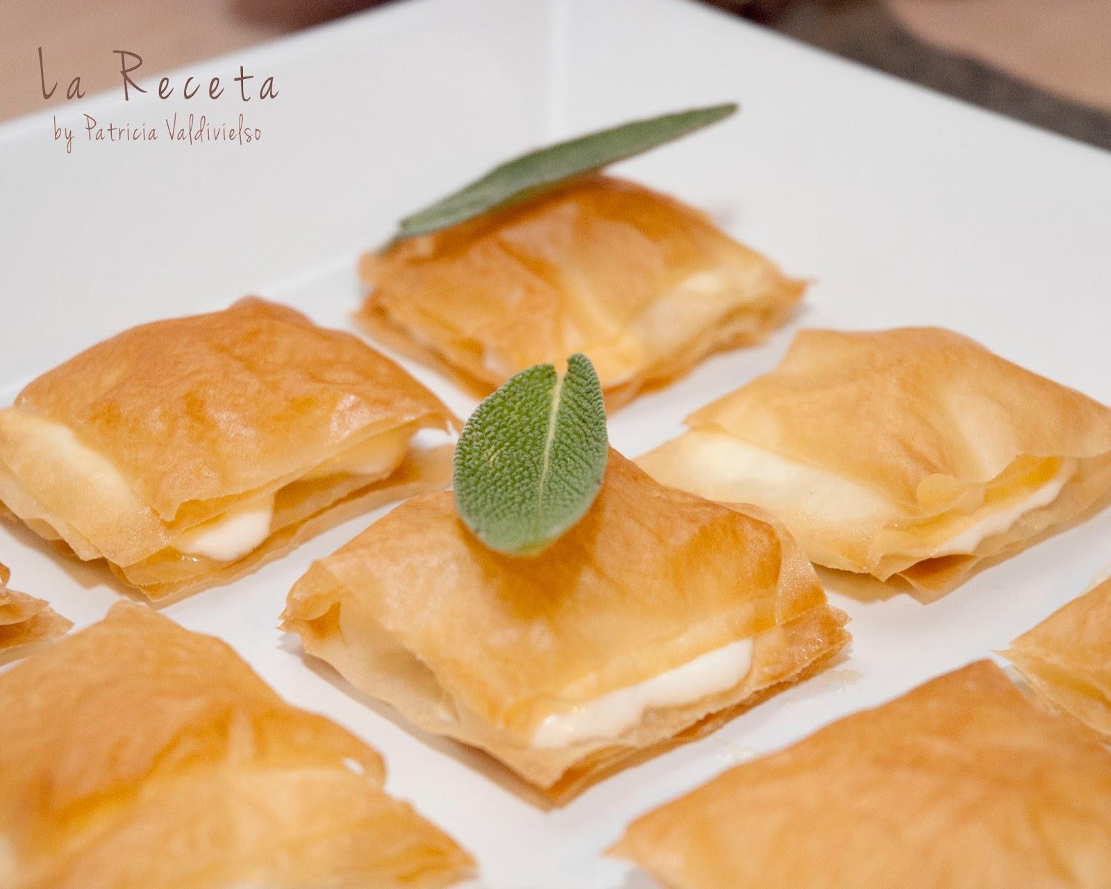 La receta by patricia valdivielso canap s de queso de - Que hacer con la pasta filo ...