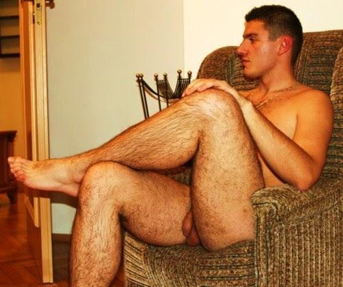 naked hairy guys legs spread