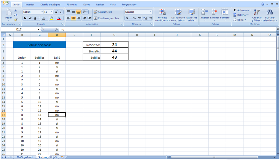 mini aplicaciones en Excel: Mini Bingo Smart Cont