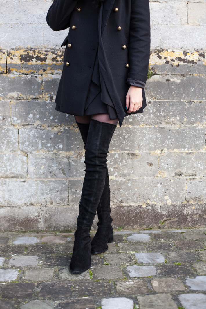 Outfit: suede thigh high boots