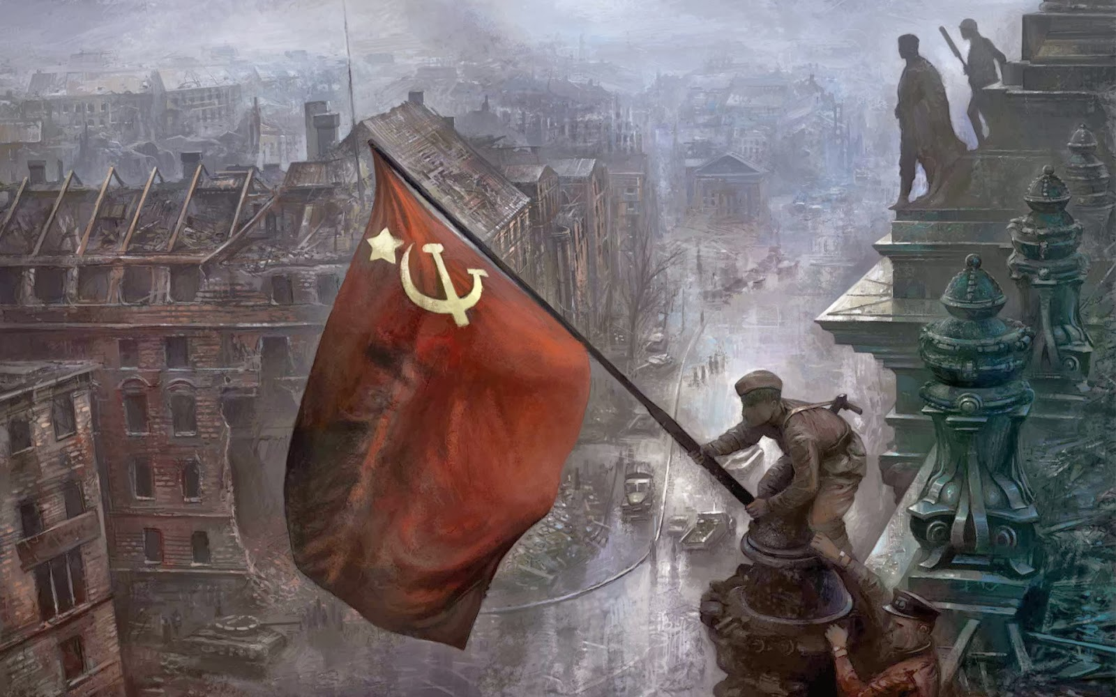 Soldiers+raising+the+Soviet+flag+over+th