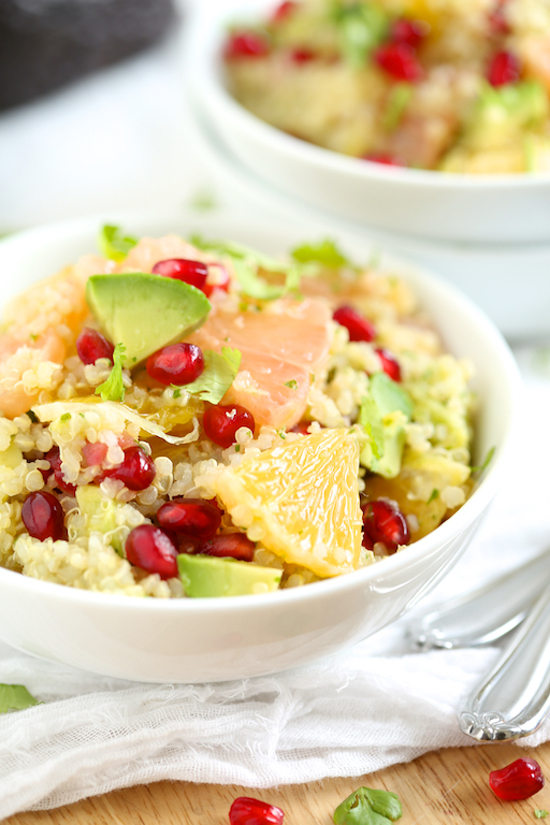 Citrus quinoa salad with avocado and pomegranates recipe by GI 365