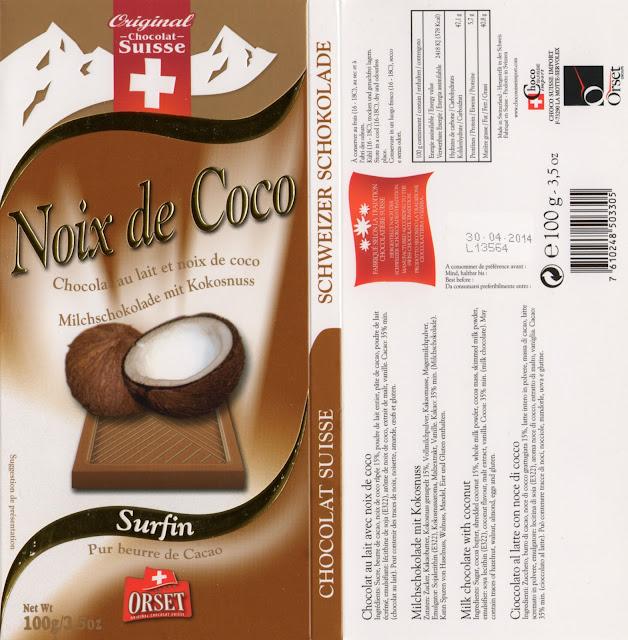 tablette de chocolat lait gourmand orset la route des alpes lait noix de coco
