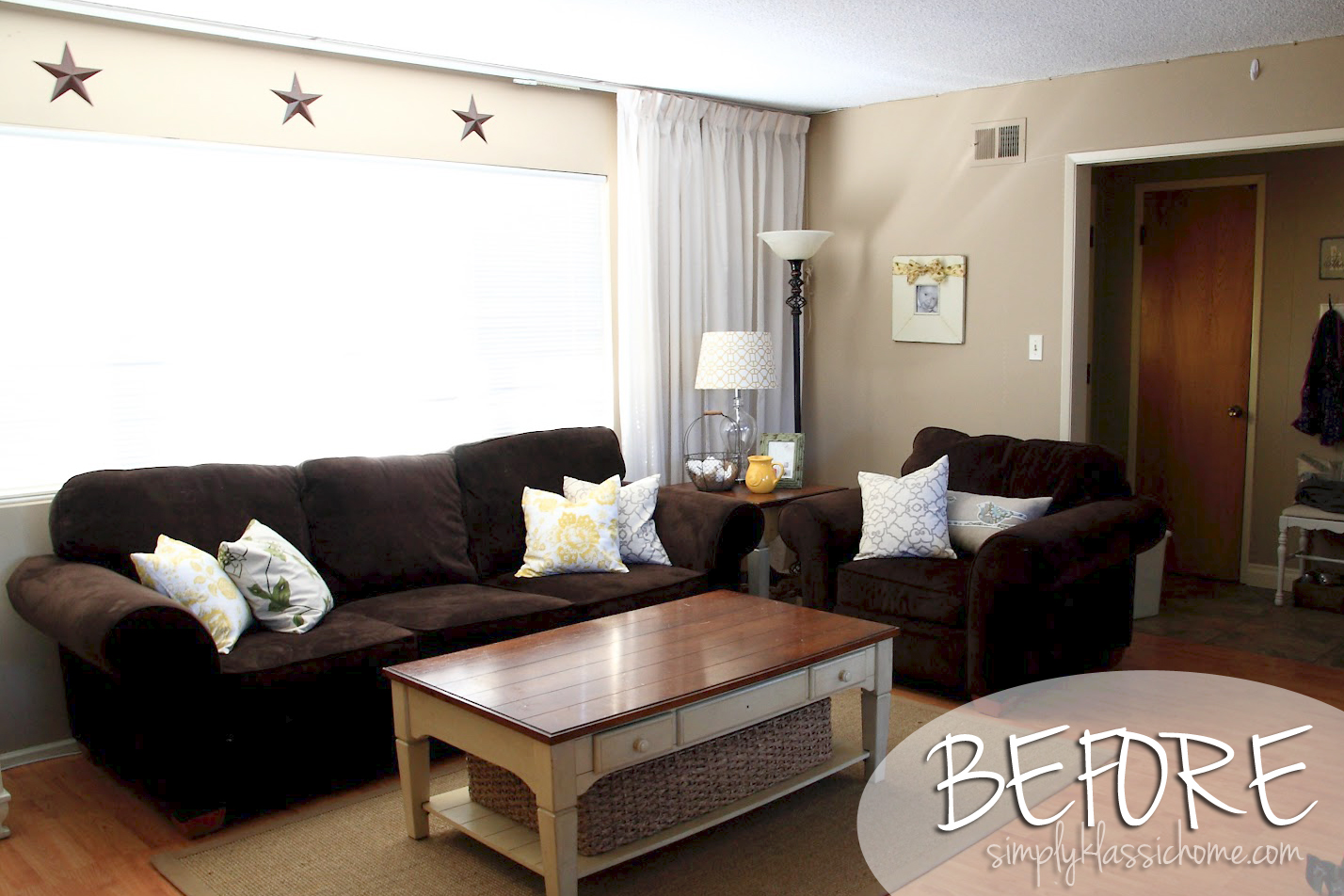 Industrial blend living room makeover reveal yellow - Black and brown living room furniture ...