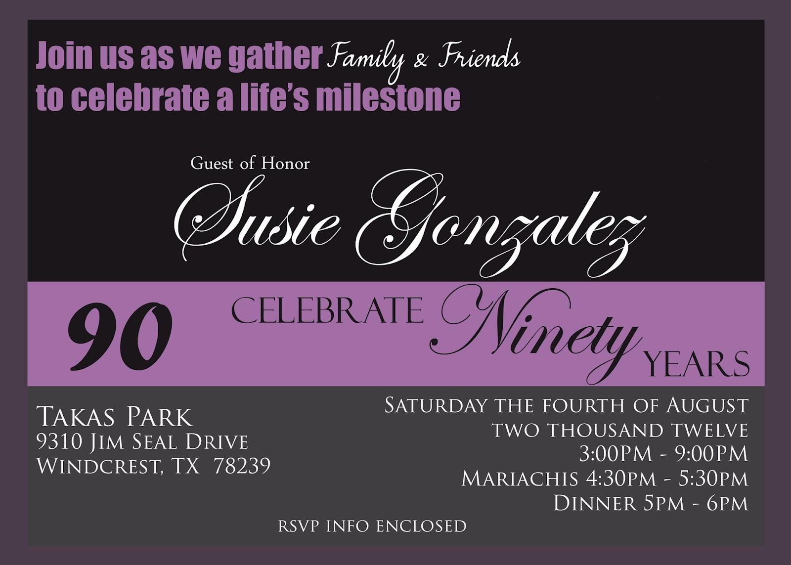 90th birthday invitation templates free - Ideal.vistalist.co