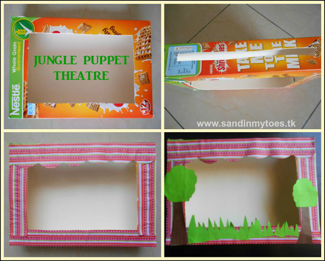 How to make a jungle-themed puppet theatre with a cereal box.