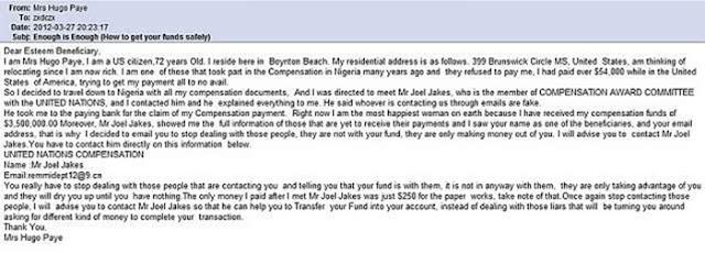 Nigerian Email Scam