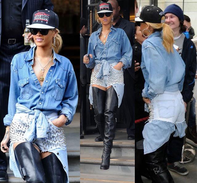 GANG GIRL-Rihanna-o estilo de rihanna-moda de rua-jeans-trend jeans-t-shirts-como usar camiseta no look-05
