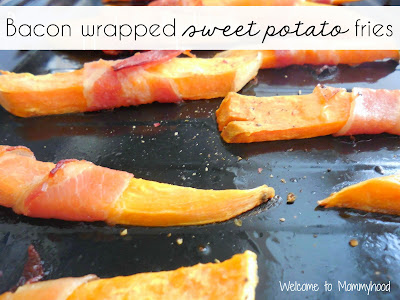 Easy healthy recipes:  Bacon wrapped sweet potato fries {Welcome to Mommyhood} #paleo, #easyhealthyrecipes