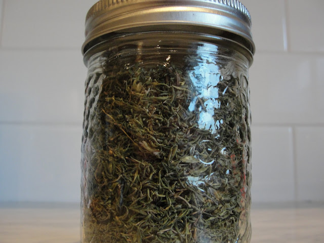 jar of dried thyme