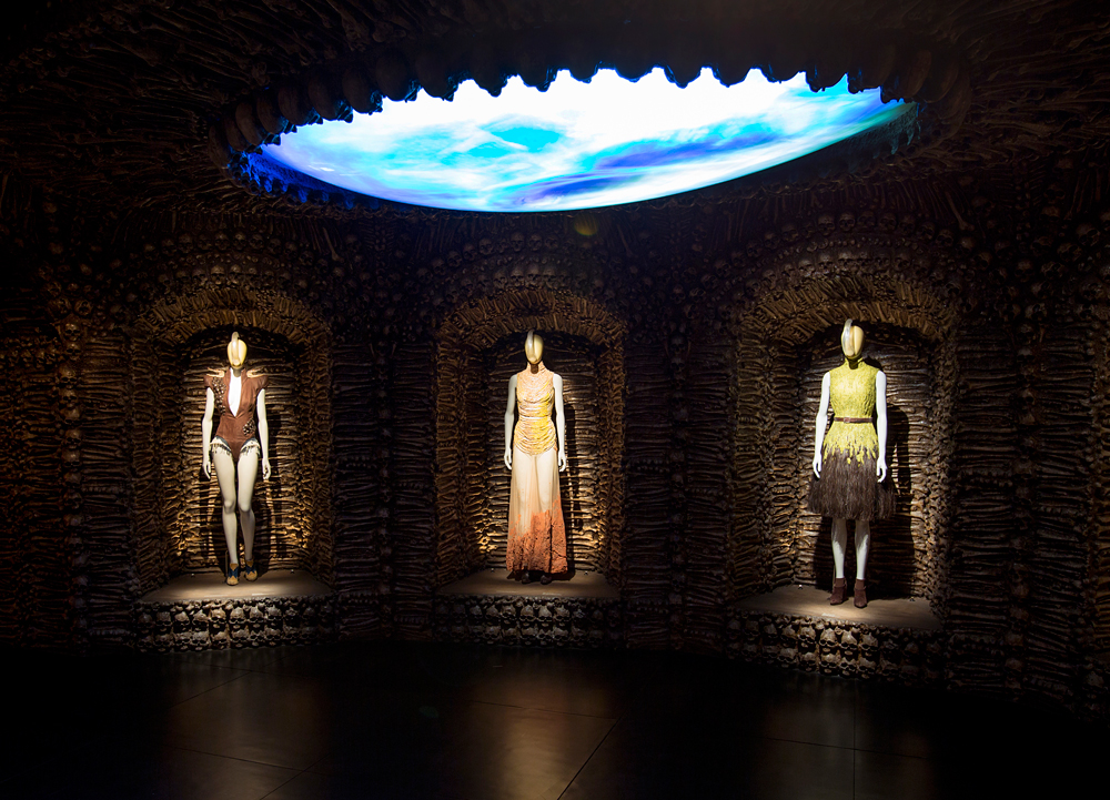 "Installation view of ""romantic primitivism"" / Alexander McQueen Savage Beauty exhibition / Victoria & Albert Museum London / via fashioned by love british fashion blog"