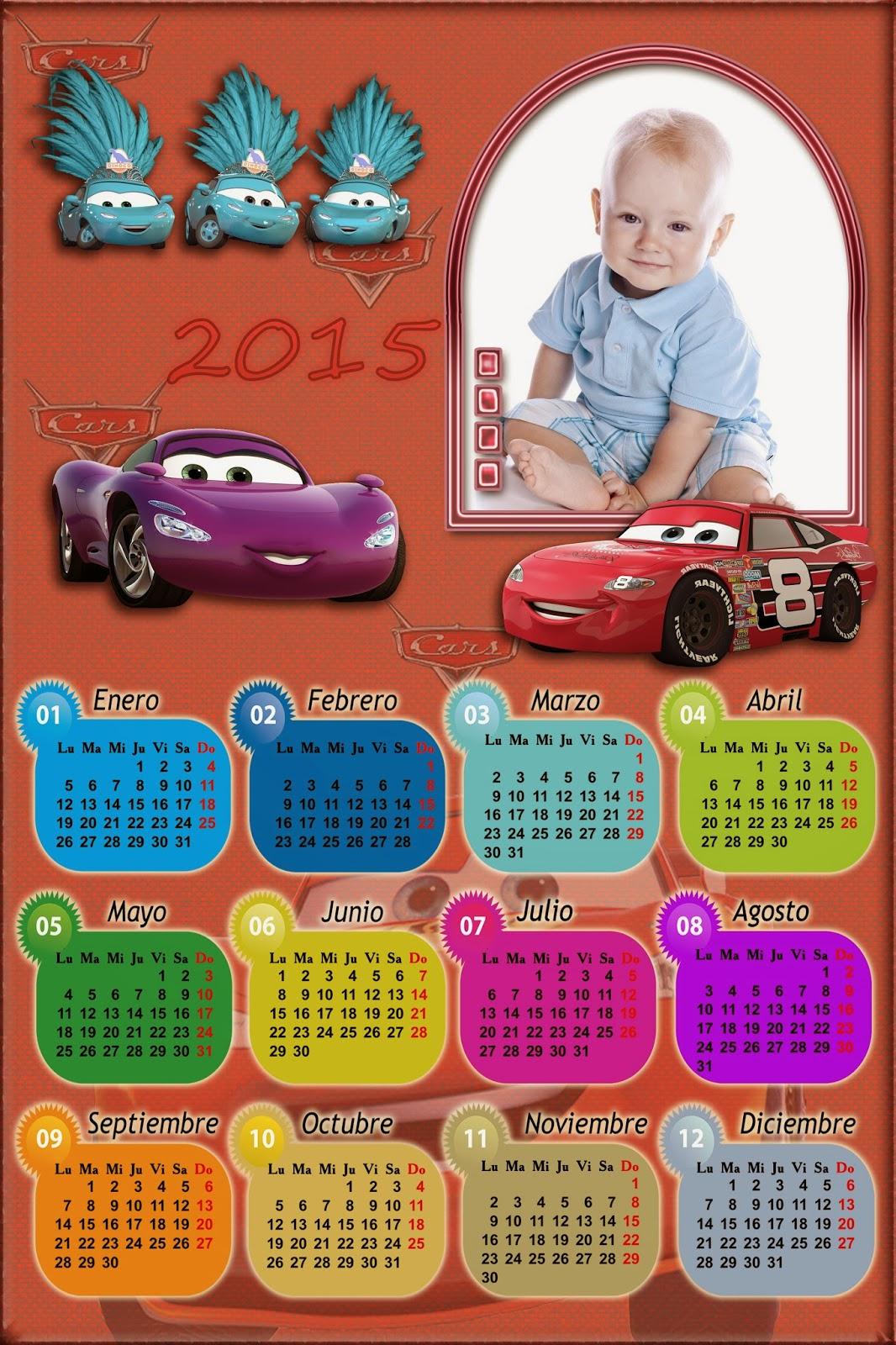 ... : Calendario para el 2015 personajes Cars para Photoshop (Psd y Png