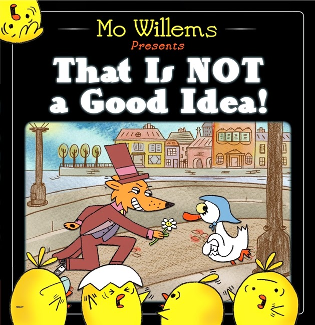 That is Not a Good Idea by Mo Willems is another fun book by this Pigeon series author.  This book review has several lesson plan/ideas.  It's fun book and has a surprise/twist ending.  However, 6 year olds are the youngest I think; contrary to the 4 year old information from the publisher. .  Alohamora Open a Book http://alohamoraopenabook.blogspot.com/