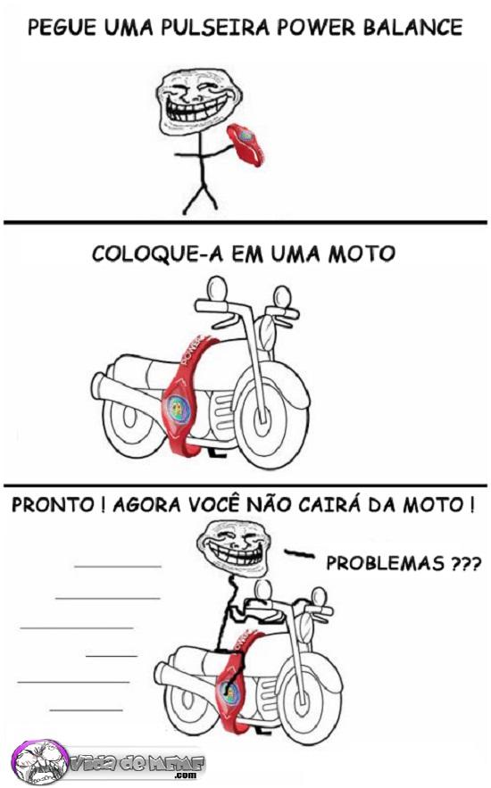 Tirinha do blog Vida de Meme: Como andar de moto sem cair