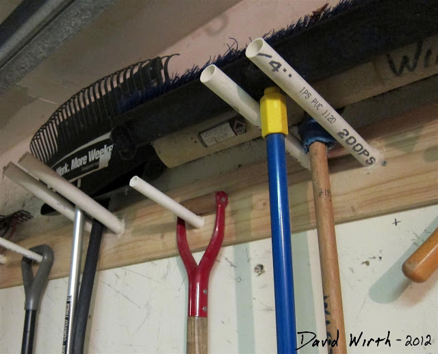 wood and pvc tool rack in garage, attach to wall, how to build, simple plans