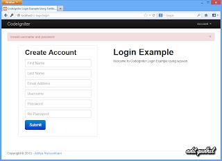 CodeIgniter Login - Invalid Username and Password