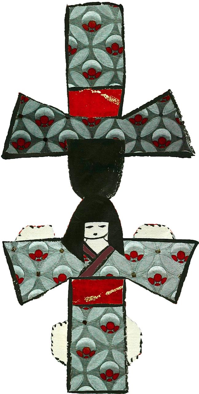 Modèles de poupées en papier prêtes à découper happy hina matsuri