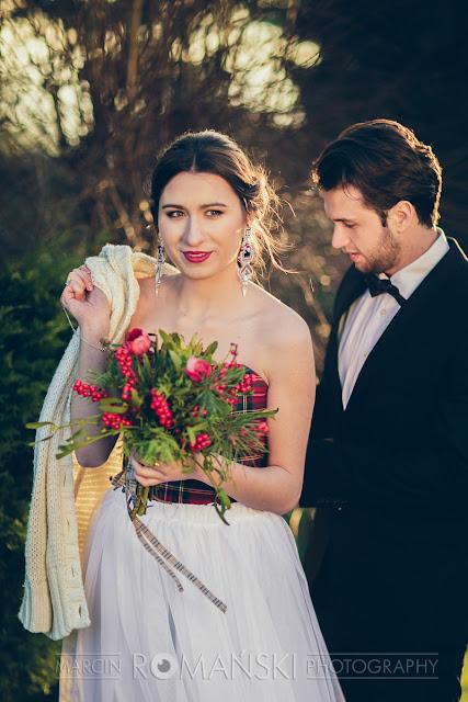 Szkocka krata na ślubie - niecodzienna stylizacja Panny Młodej.