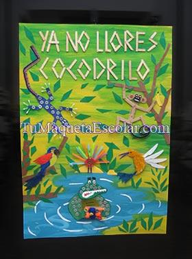 cocodrilo, lagartija, colibri,mono, guacamayo y pava hechos con hisopos y arandelas