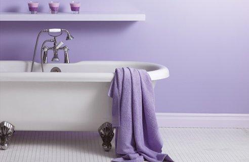 Bathroom paint colours - Lavender and white bathroom ...