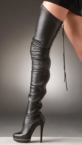 Fetish Fashion : High Heel Black Boots With Leather Laces