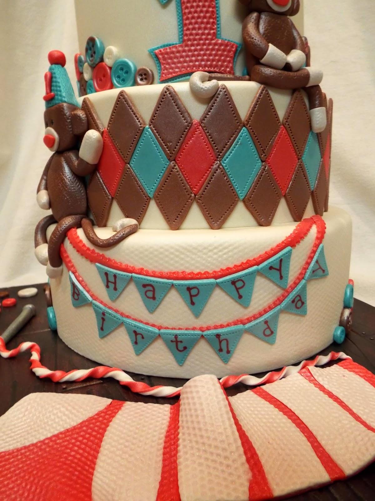 MyMoniCakes Sock Monkey Cake Matching Smash cake and cupcakes