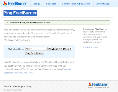 Ping+FeedBurner List Of Free Blog Ping Services Sites That Every Blogger Must Use