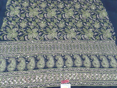 Mukesh work with Lucknow Chikankari Embroidery