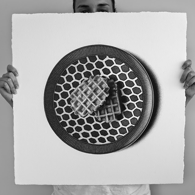 35-Waffles-C-J-Hendry-Hyper-Realistic-Drawings-of-Food-www-designstack-co