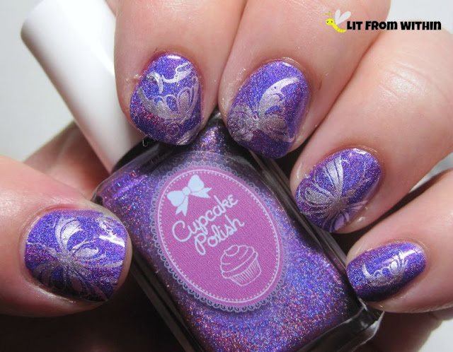 Cupcake Polish Berry Good Looking stamped with butterflies from UberChic 1-02