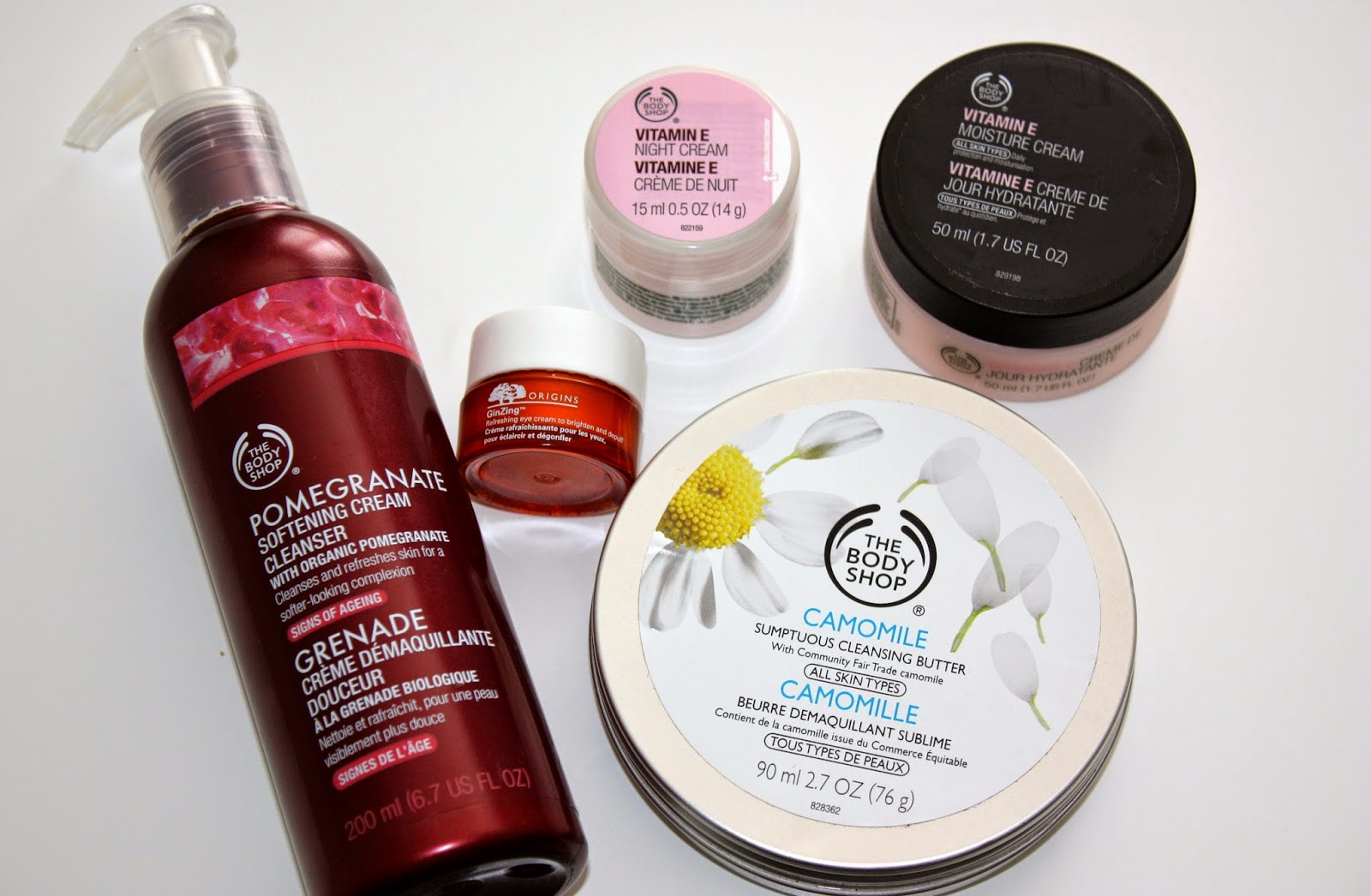 The Body Shop, lazy skincare, cream cleanser, cleansing butter, vitamin e night cream, moisture, origins ginzing eye cream