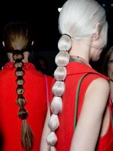 Waist Length Segmented Ponytails At Valentino In Paris Fashion Week