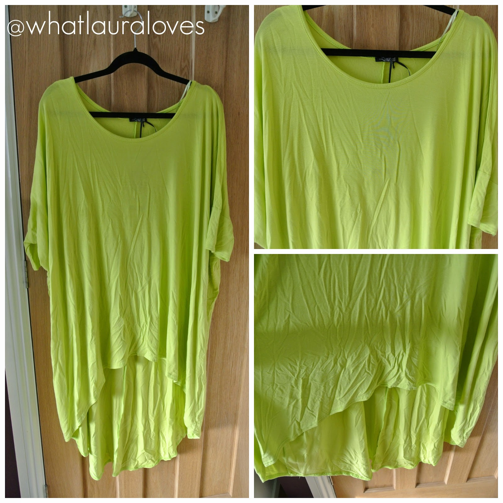 Lime Green Oversized Extreme Dip Back Top from Yours Clothing