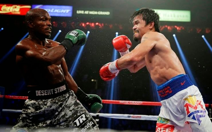 Manny Pacquiao wins Saturday, April 12 against Timothy Bradley for the WBO welterweight title