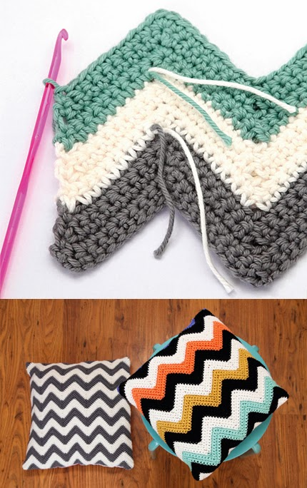 Ripple crochet pattern: How to crochet chevron cushions
