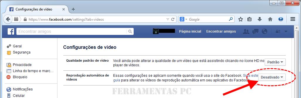 Facebook - Reprodução de vídeos desativada