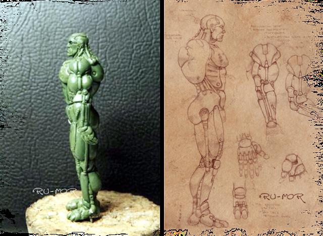 Miniatura y concept art realizados por ªRU-MOR basados en una ilustración de Chichoni. De temática Sci-Fi, cibernético y robótico. Warhammer 40000