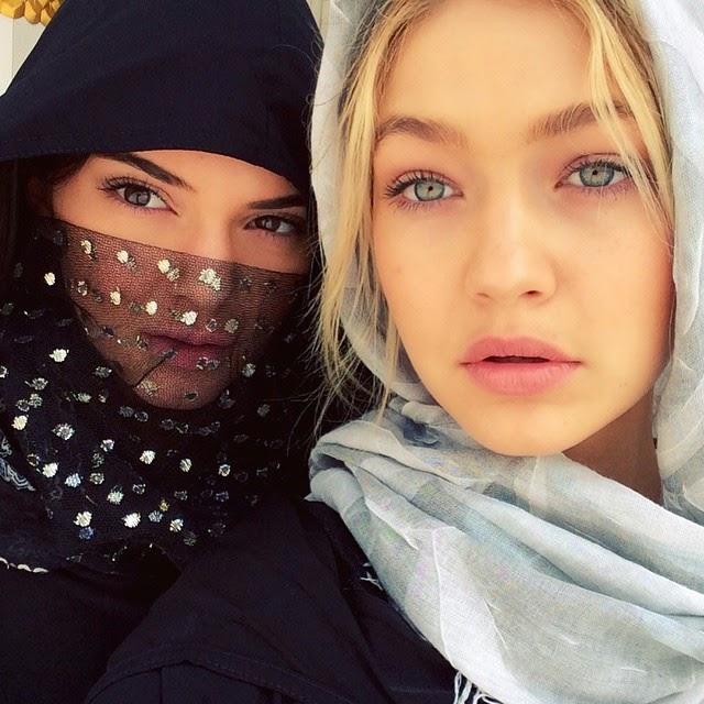 Kendall Jenner and Gigi Hadid at Sheikh Zayad Grand Mosque in Dubai