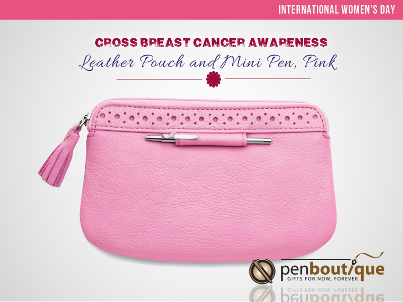 Cross Breast Cancer Awareness Leather Pouch