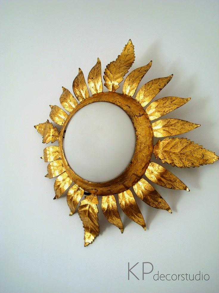 Apliques sol dorados años 50 y 60 de bronce y plafón de cristal
