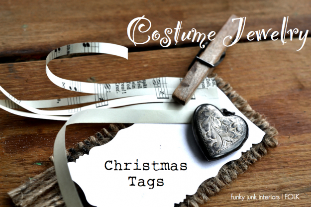 Costume Jewelry Christmas Tags, by Funky Junk Interiors featured on FOLK Magazine's blog