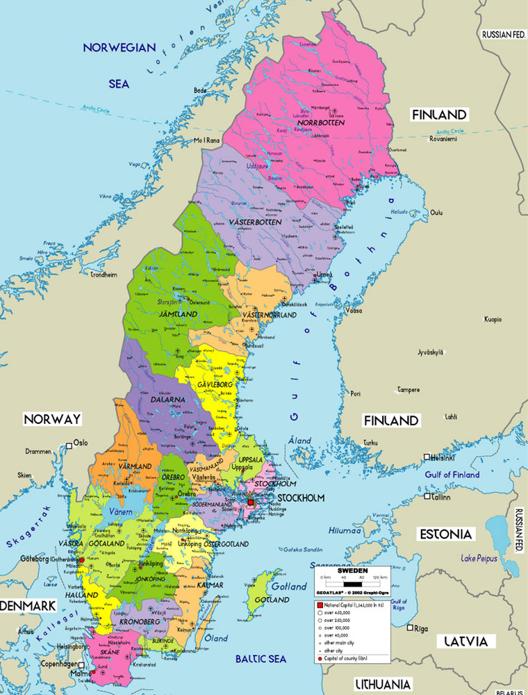 Kort over sverige land