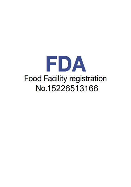 Certificate of FDA Food Facility. Registration Number: 18161996856