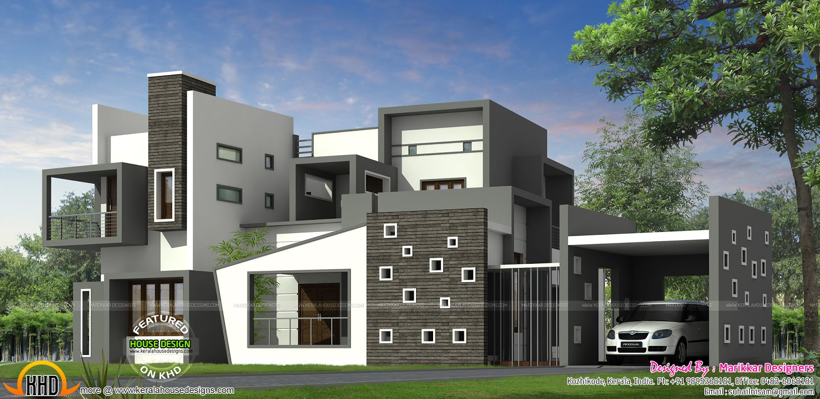 Luxurious contemporary style house plan kerala home for Modern looking homes