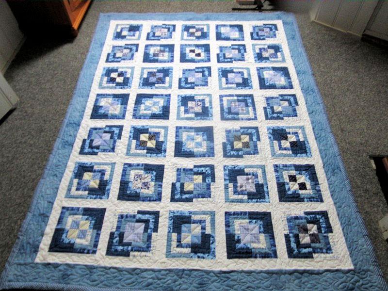 Blauwe lapjes quilt