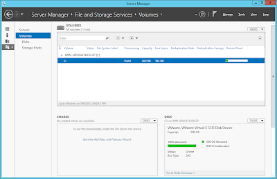 Windows Server 2012: Server Manager File And Storage Services