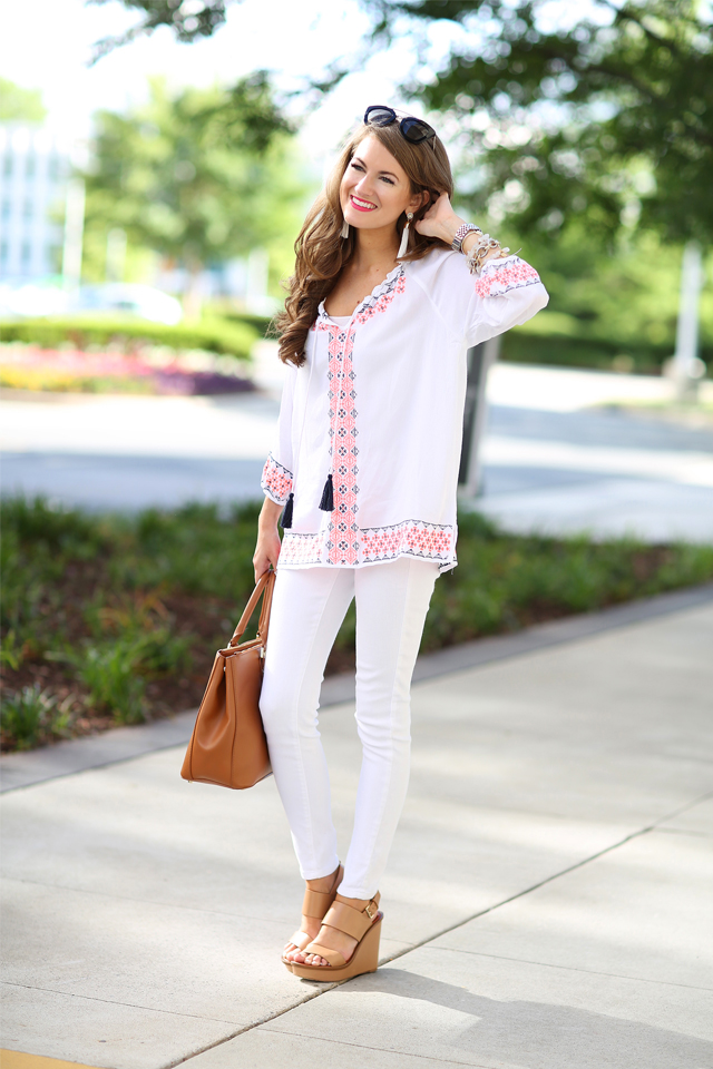 Southern Curls & Pearls Embroidered Tassel Top