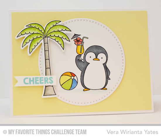 Penguin Cheers Card by Vera Wirianta Yates featuring the Birdie Brown Penguins in Paradise stamp set and Die-namics and the Cross-Stitch Circle STAX Die-namics
