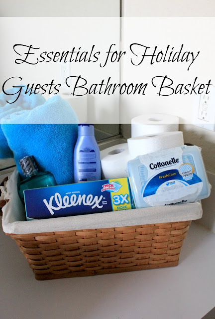 Essentials for Holiday Guests-Bathroom Essentials Basket #HolidaysconFamilia #ad